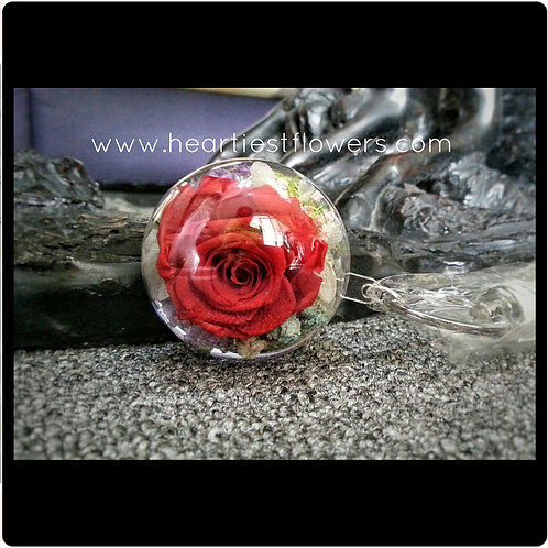 Preserved Red Rose - 5cm acrylic ball case