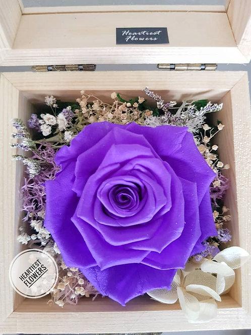 Wooden Box Preserved Rose - Dark Purple