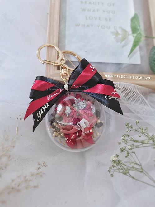 6cm Case Dried Flower Mini Bouquet Gold Keychain