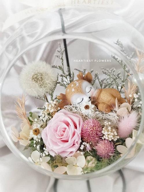 Sleeping Dear Hanging Jar - Preserved Dandelion and Rose Arrangement
