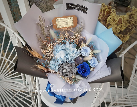 Preserved Flowers Bouquet - Blue