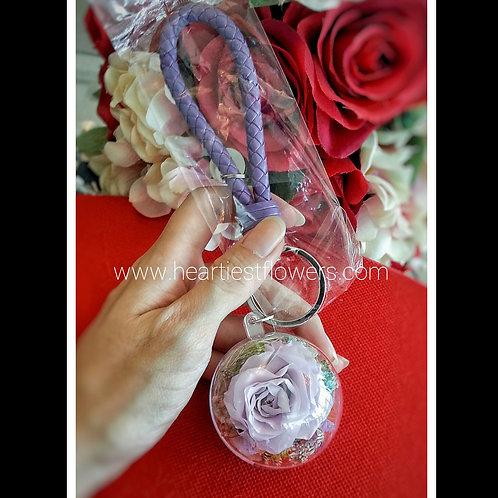 Light Purple Rose Keychain