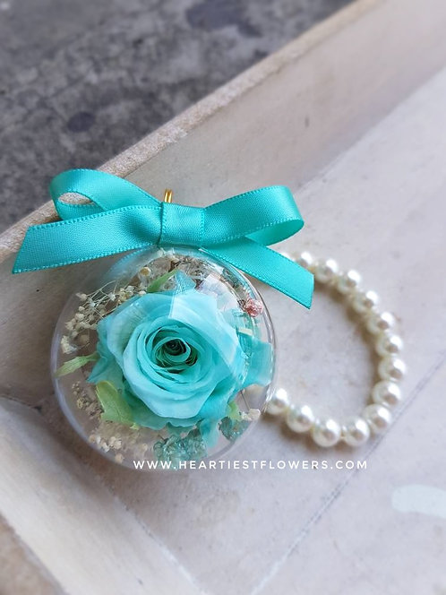 Tiffany Blue Rose Pearl Handle Keychain