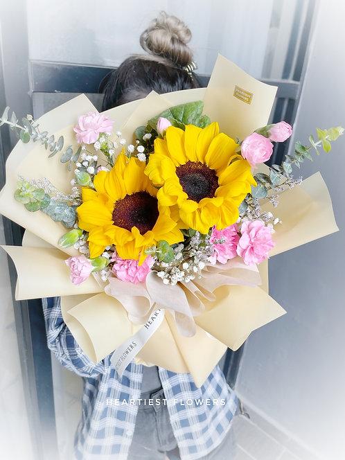 Double Sunshine - Fresh Sunflower  Bouquet