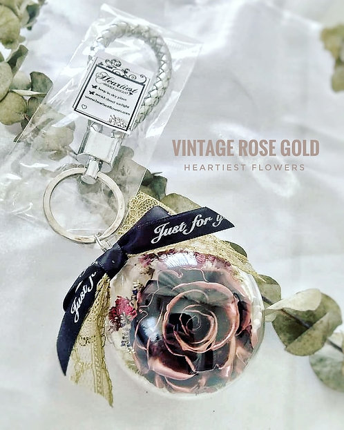 Rose Gold Rose Keychain