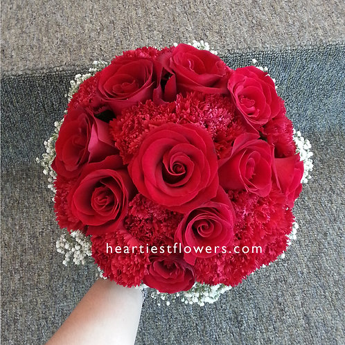 Red Roses + Red Carnations Bridal Bouquet