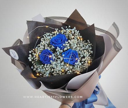 Royal Blue Rose + Light Blue Babysbreath Bouquet