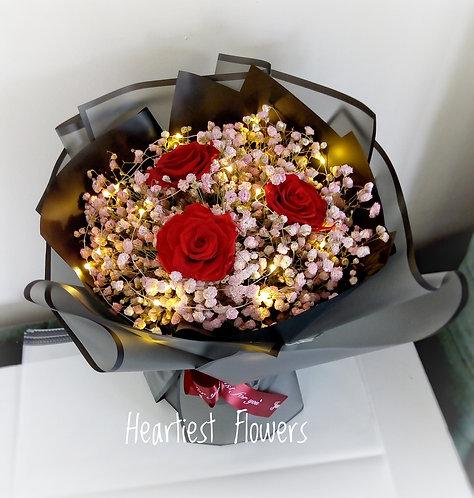 Preserved Rose + Pink Babysbreath Bouquet