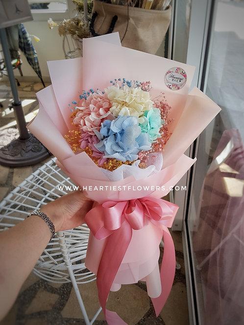 Rainbow Hydrangea Bouquet -surround w/babybsbreath