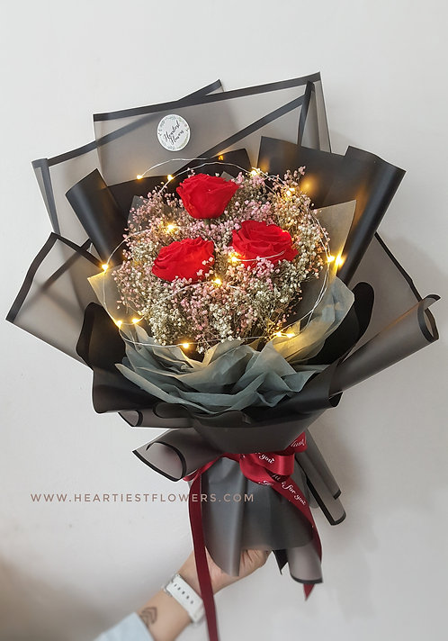 Preserved Red Rose Bouquet with light