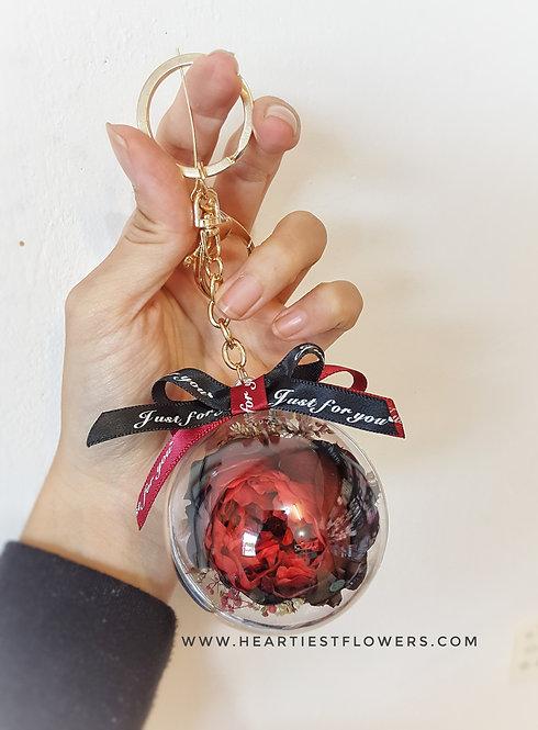 Red Black Austin Rose Keychain