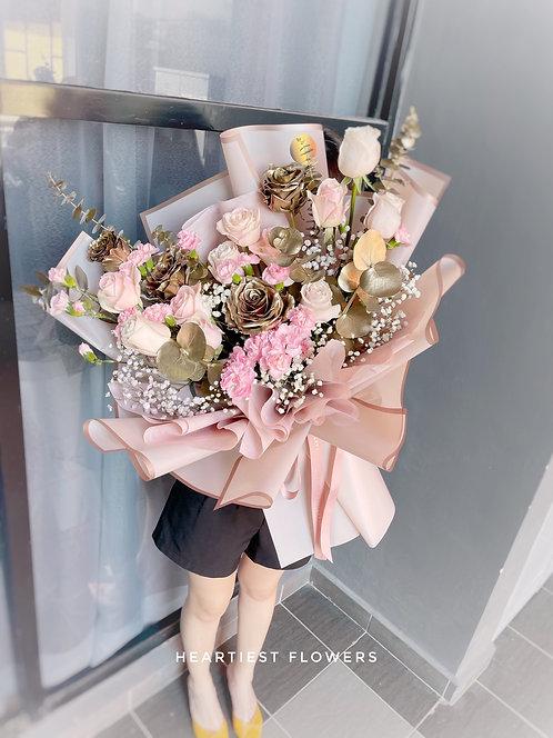 Bling Bling Pink - Mix Gold Roses Design