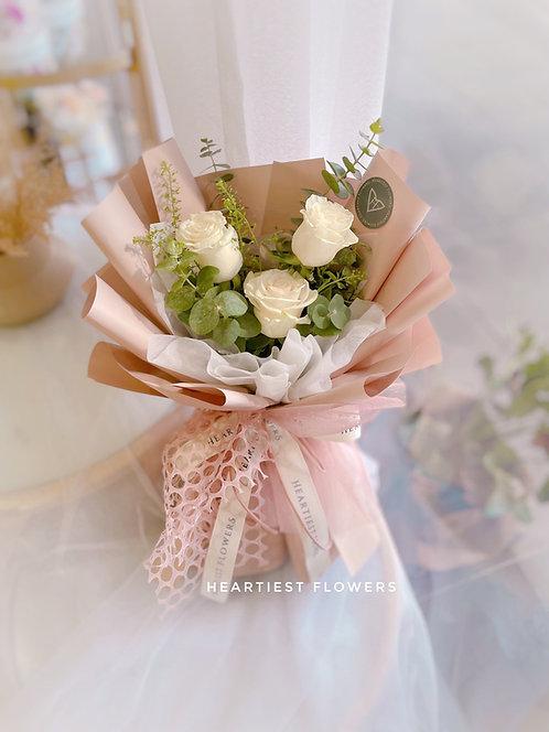 White Rosa - 3 stalks white rose