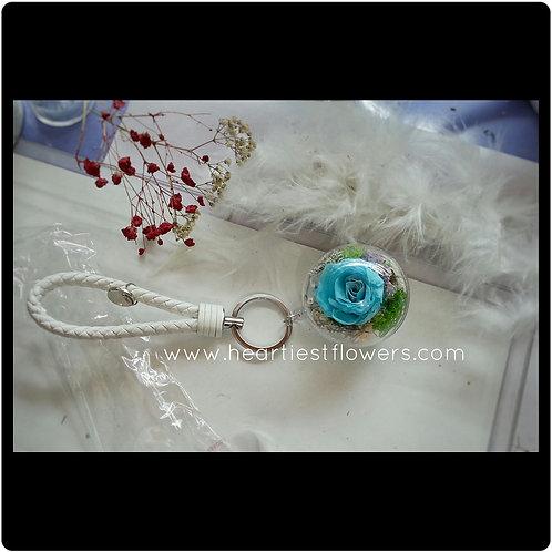 Tiffany Blue Rose Keychain