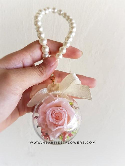 Pink Peach Rose Pearl Handle Keychain