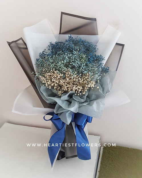 Standard Size Gradient Blue Babysbreath Bouquet