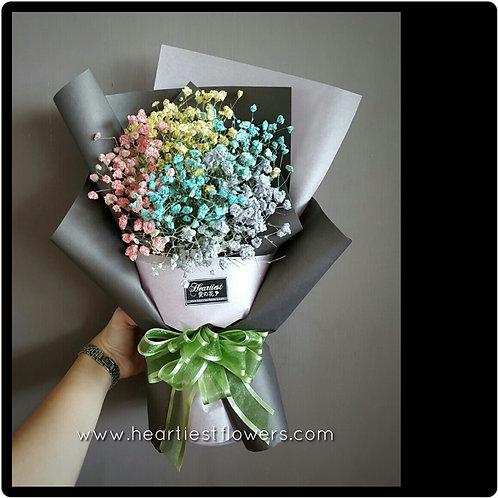 Rainbow Colour Babysbreath Bouquet