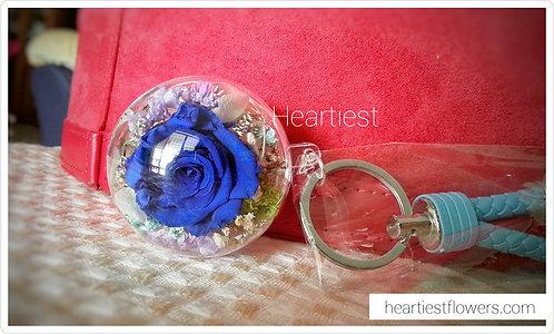 Dark Blue Rose Keychain