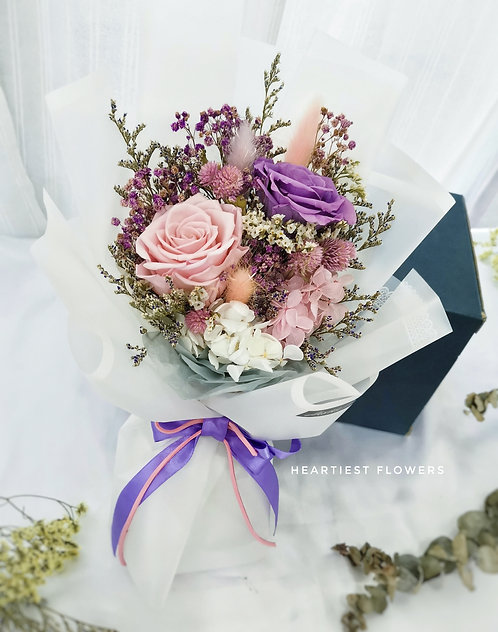 Preserved Bouquet Medium Purple Pink