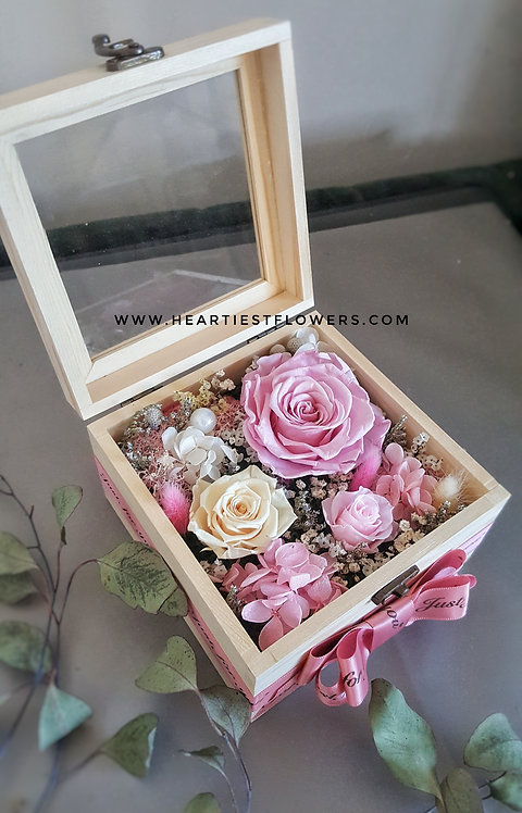 Wooden Box Preserved Flowers