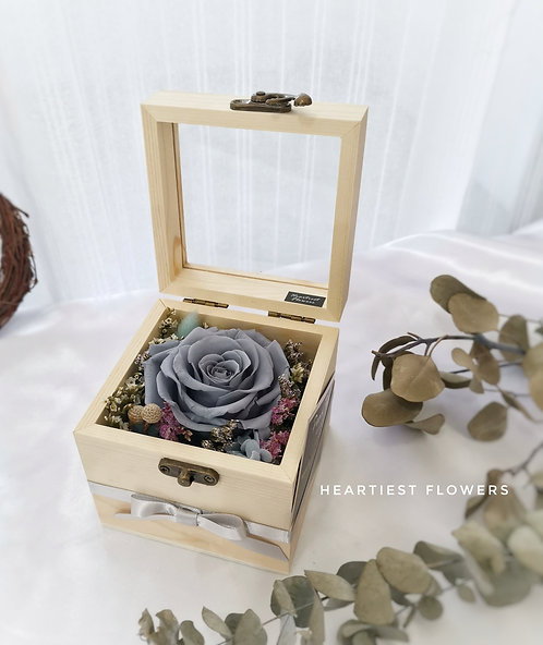 Wooden Box Preserved Rose - Grey