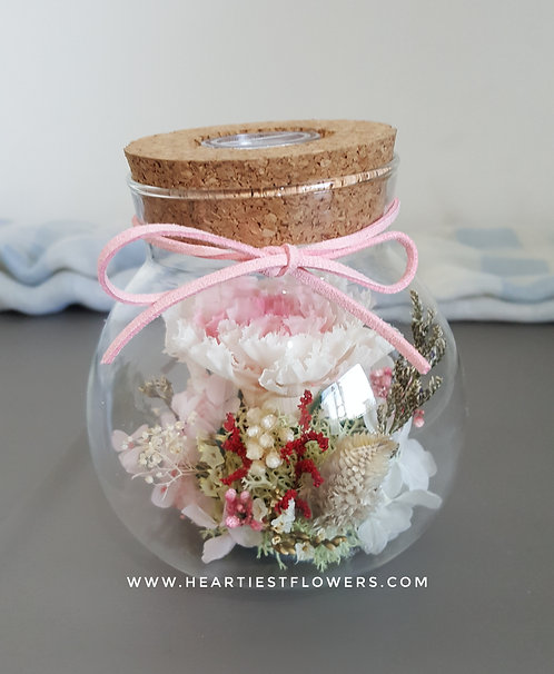 Carnation Jar with Light- two tone pink