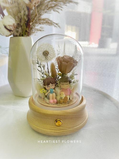 Couple Bluetooth Music Box - Preserved Dandelion / Preserved Rose Design