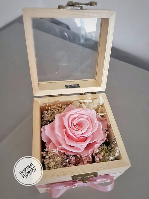 Wooden Box Preserved Rose - Peach Pink