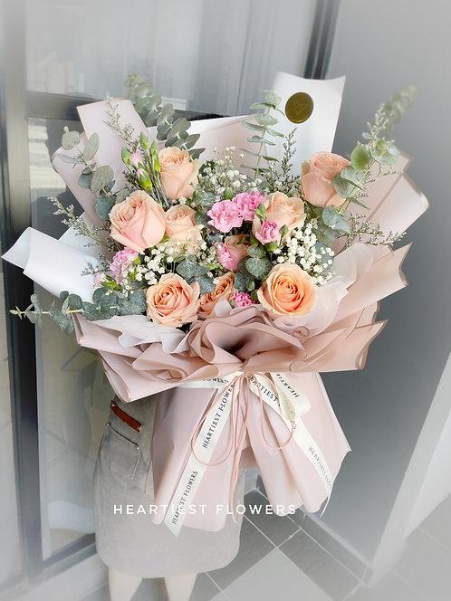 Beautiful Day - 9 stalks fresh rose bouquet