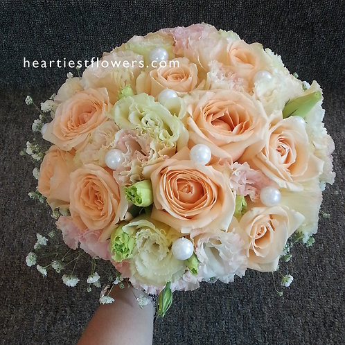 Soft Colour Bridal Bouquet with Pearl Beads
