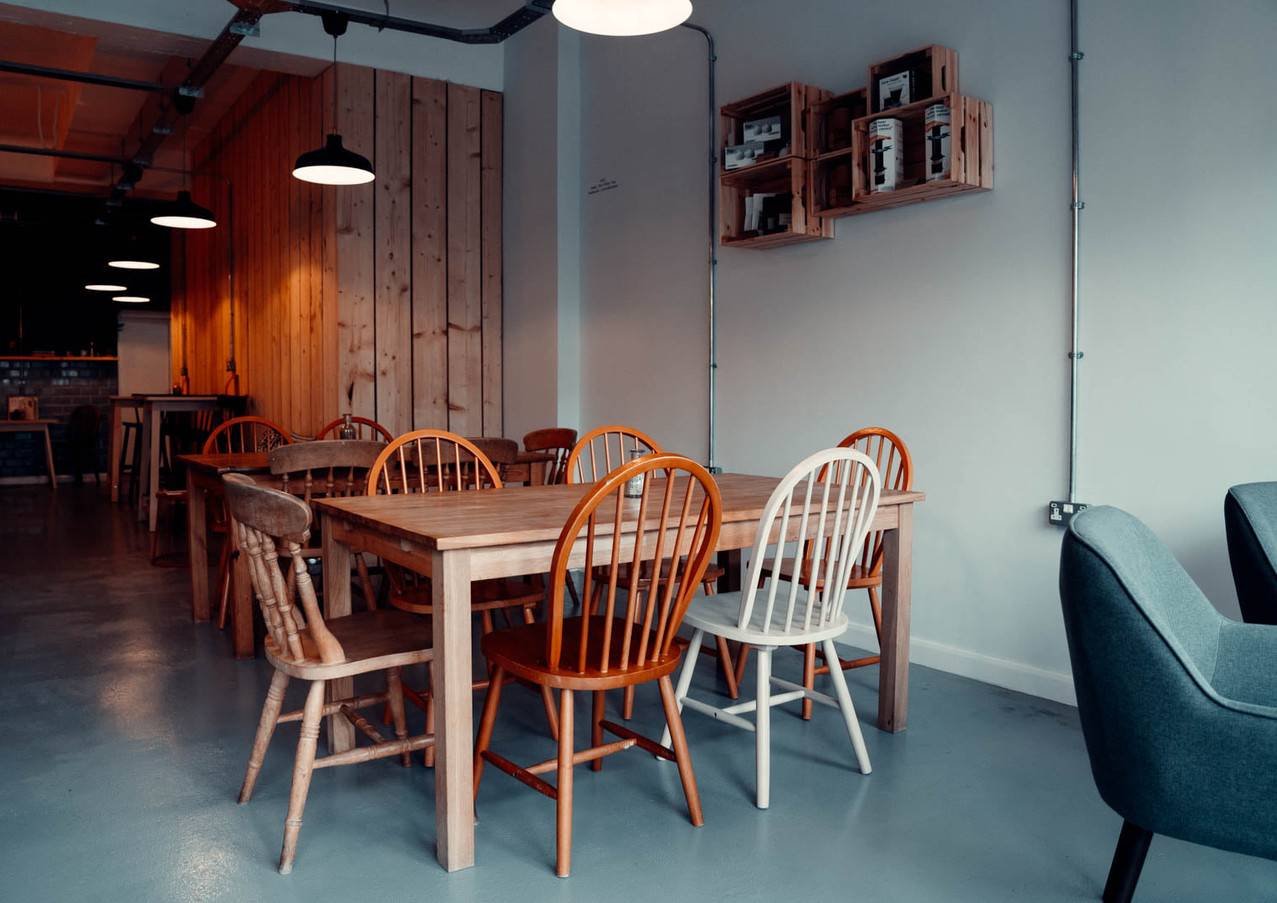 Interior of The Other Cup specialty coffee shop in Newton Abbot