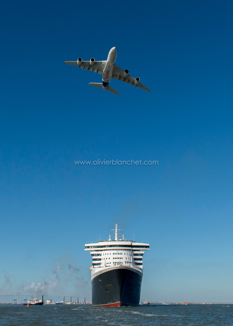 A380 et Queen Mary II