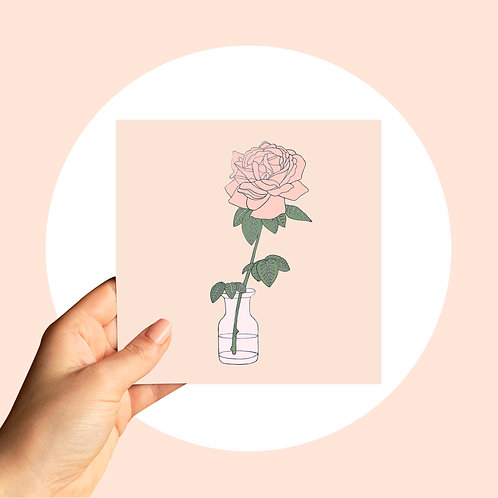 Card - Rose in a jar