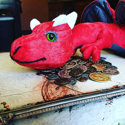 Tiny dragon with his hoard