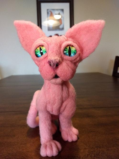 Sphynx Cat Needle Felt Sculpture