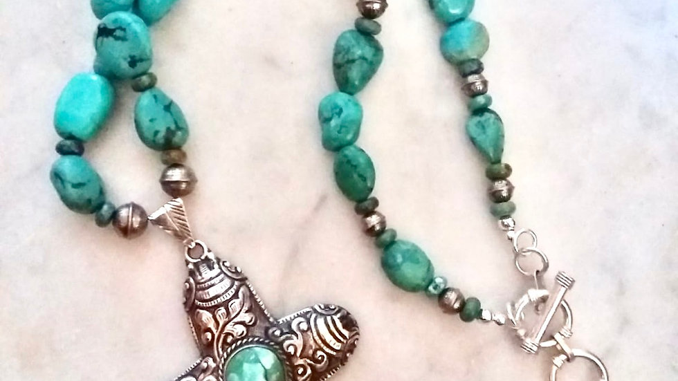 Turquoise and Silver Necklace and Repousse Cross Pendant