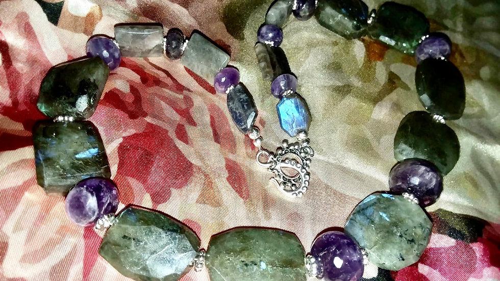 Faceted Labradorite & Amethyst Necklace