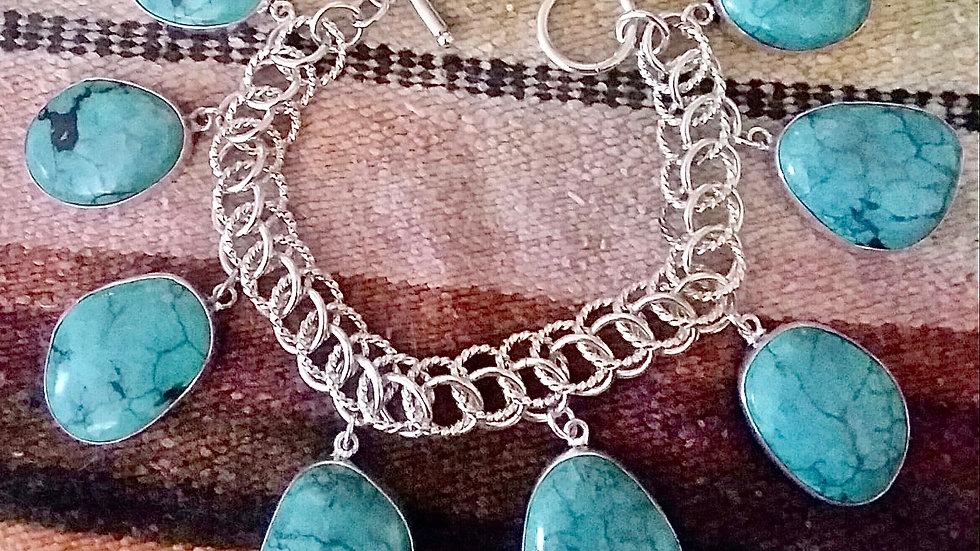Natural Arizona Turquoise Sterling Bracelet