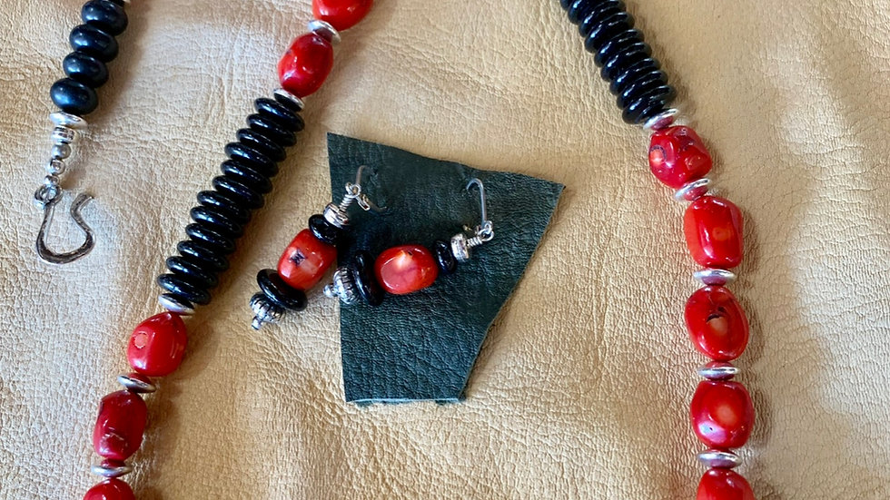 Red Coral and Onyx Necklace Set