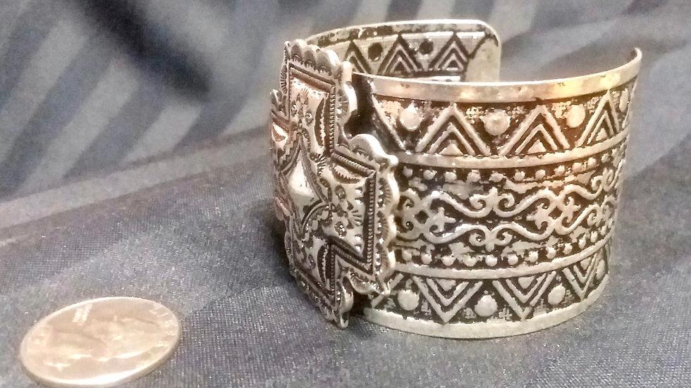 Silver Toned Stamped Bracelet