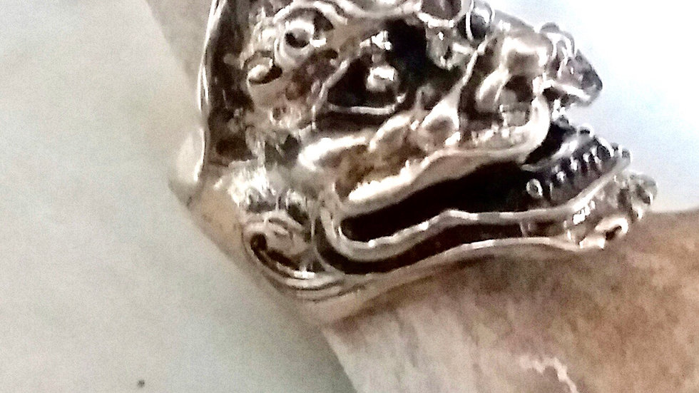 Sterling Silver Biker Ring