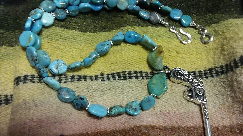Sleeping Beauty Turquoise and Pistol Pendant