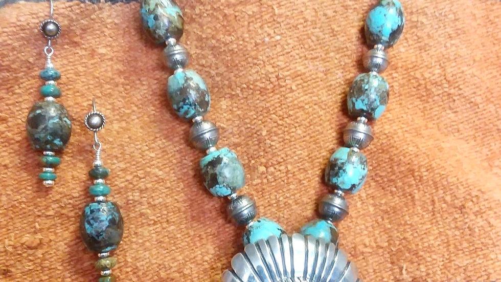 Kingman Turquoise Necklace/Dead Pawn Pendant & Earring Set