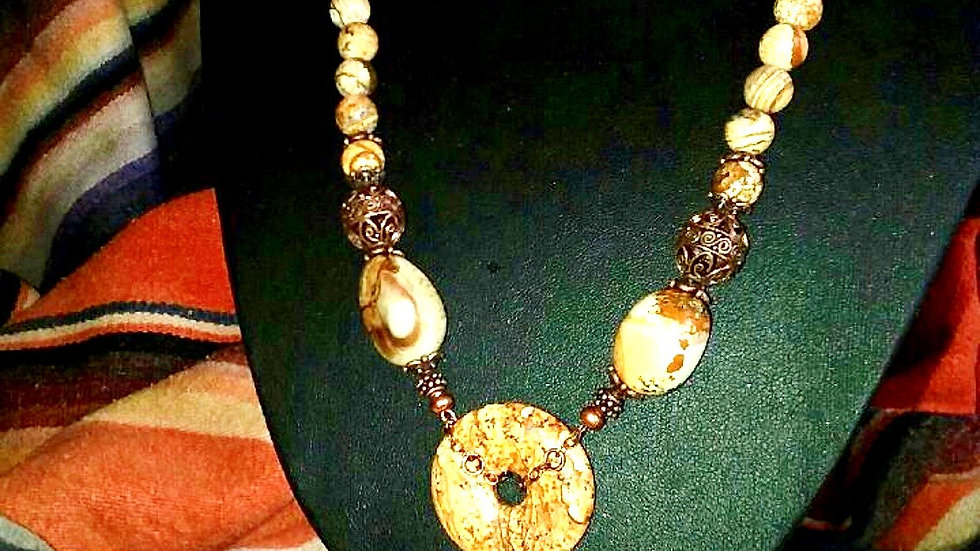 Picture Jasper Necklace and Earring Set-SOLD