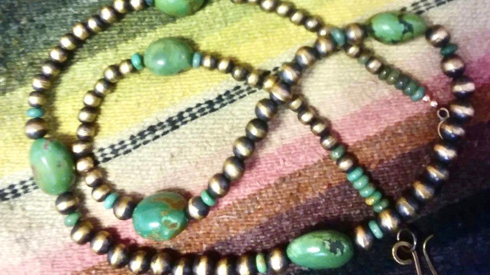 JCK Copper Navajo Pearl & Royston Turquoise Set