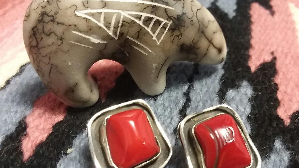 Dead Pawn Coral Earrings