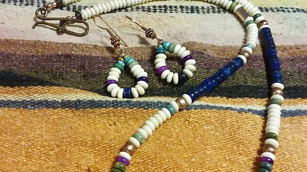 Multi Gem Necklace and Earring Set