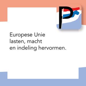 Europese Unie lasten, macht en indeling hervormen.