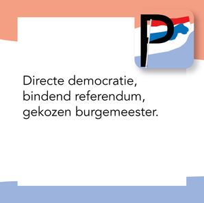 Directe Democratie, bindend referendum,                                              gekozen burgemeester.