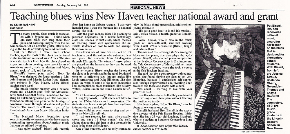 CT Post / February 14, 1999: Teaching blues wins New Haven teacher national award and grant.
